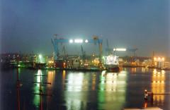 Kiel, shipyards (Psycho Milt) Tags: germany deutschland kiel night harbours ships