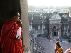 Checking the view (birdcage) Tags: cambodia monk angkor view mostfavorited angkorwat