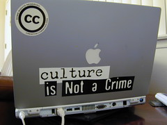 culture is not a crime (Dawn Endico) Tags: apple powerbook macintosh is mac sticker portable laptop culture remix some right cc crime creativecommons reserved eff ordinateur