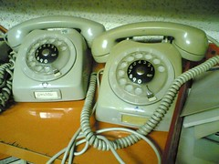 Old phones (hugovk) Tags: cameraphone 2005 old finland spring helsinki phone pair telephone may dial lifeblog 200 7610 100 nokia7610 hvk phones telephones handset rotarydial coupla rotarydialler rotarydialer rotarry