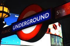 Piccadilly Circus (Alicia FB) Tags: london city night lightning lights red underground uk