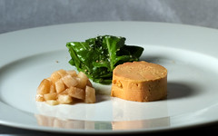 Poached Moulard Duck Foie Gras Au Torchon with Pickled Pear (ilmungo) Tags: frenchlaundryday2 dinner party food presentation poachedmoulardduckfoiegras foiegras pears pickled arugula salad mint topv111
