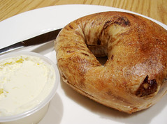 Raisin Bagel with Cream Cheese @ N.Y. Bagels Cafe by yusheng