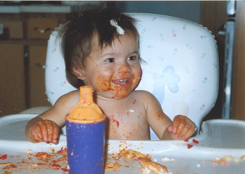 hannah eating mess baby