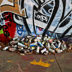 Discarded Tools (Matt Niemi) Tags: graffiti pittsburgh bloomfieldbridge spraypaintcans krylon trash