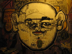 Quiet is the new loud (Milkwood.net) Tags: streetart pasteup art face australia melbourne tags victoria centreplace