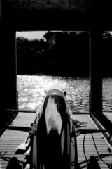 Rowing Shell at the White Rock Boathouse (andrewlmurphy) Tags: dallas fuji olympus neopan boathouse omg whiterocklake rowingshell