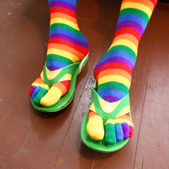 (Joseph Robertson) Tags: silly colors socks 100v happy rainbow cheery nathan bright happiness yay 10f thongs crayonbox hooray happyhappyjoyjoy apartyforyourfeet