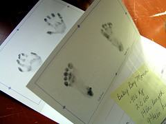 his hand and footprints