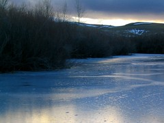 Iced Over (MaureenShaughnessy) Tags: nightphotography winter cold night dark montana seasons nocturnal utata helena thebigsky nightphotos wintercolors coldseason afterdusk waterisalive seasonalrhythmswinter