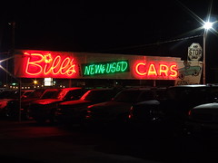 Bill's New & Used Cars (Curtis Gregory Perry) Tags: old light signs color colour classic luz glass sign electric night vintage licht washington colorful neon pretty glow state pacific northwest bright lumire tube tubes ne retro gas signage electricity wa glowing colourful dying electrical luce muestra important signe sinal neons  zeichen non segno     teken     glowed    neonic