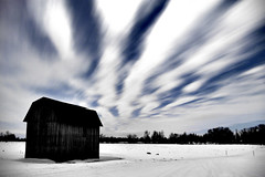 The Nocturnal Shed (Ian David Blm) Tags: longexposure winter cloud moon cold ice topf25 topv111 night barn rural stars countryside interesting topv555 topv333 top