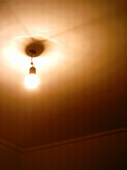 Lone Bulb (Manuel Zx 48K) Tags: light lamp yellow composition lights wire raw room indoor lamps illuminate confinement