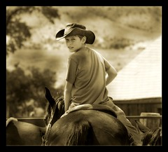 Cowboy (Domain Barnyard) Tags: ranch boy horse 2004 hat sepia utah interestingness interesting cowboy july explore rider domain barnyard trailride antimony tingey rockinrranch domainbarnyard loritingey i500 ranked421