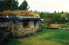 The Nature Sanctuary (Gemma Grace) Tags: autumn roof green fall film garden bench scotland october stones scan 1992 greenroof stonehouse findhorn sodroof naturesanctuary