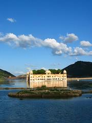 Water Palace (24thcentury) Tags: sky india lake reflection clouds jaipur rajastan waterpalace jaimahal