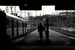 Commuter (Pensiero) Tags: blackandwhite bw man station train helsinki pasila ble peselect