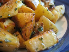Roasted Potatoes with Basil Vinaigrette