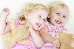 pretty in pink (joyrex) Tags: pink portrait sisters 1025fav twins toddler bright explore abigfave