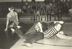 Wrestling Nostalgia.  Notice that the Ref. got kicked right in the head. (Keith Lovelady's Photography) Tags: school