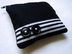 Blanc + Noir Deux (florspace) Tags: white black bag coin buttons stripes purse pouch clutch dots