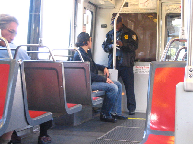 MUNI cop makes a fare bust.