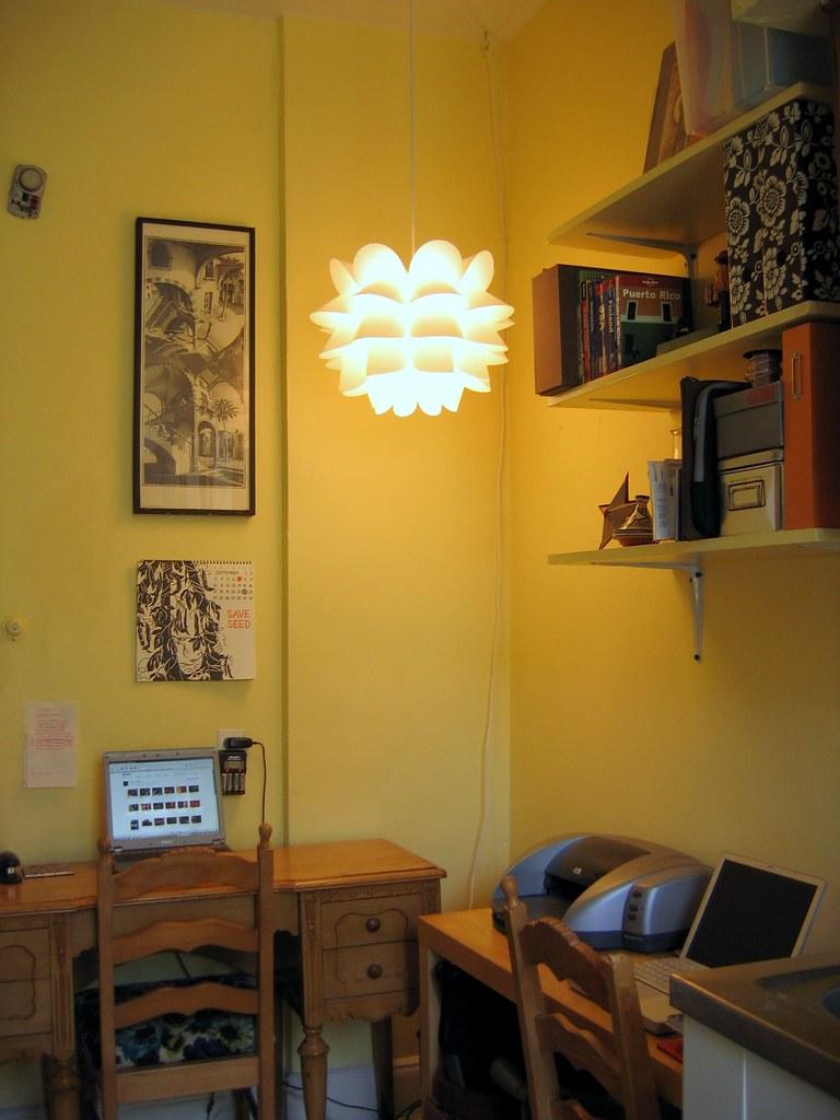 Kitchen / Office Shelves, Lamp On