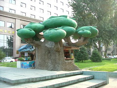 Sanlitun  tree sculpture (Jian Ailin ) Tags: china street beijing   streetscenes beijingstreet