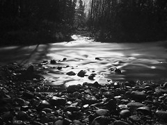 Moon On The Rocks (jack4pics) Tags: bw alaska river rocks moonlight matsu 123bw littlesu lovephotography