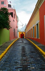 Callejn Colorido (kotobuki711) Tags: street pink blue sky orange color green yellow clouds alley colorful oldsanjuan puertorico vivid explore walkway abigfave