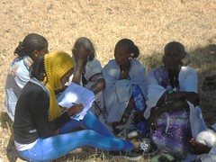 Women discussing figures for a Cost-Benefit Analysis (isfm ethiopia) Tags: 2016 tigray degua temben participatory cba survey
