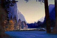 Hazy early morning commute - 1962 (Cliff Stone) Tags: california car landscape shadows scan explore yosemite yosemitenationalpark kodachrome oldcar elcapitan nationalparks oldpicture oldford mercedriver coolcar usnationalparks 50ford