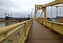 City of Bridges (mpalmer934) Tags: pnc park roberto clemente bridge pittsburgh pennslyvania love locks sidewalk cloudy day stadium baseball pirates major league allegheny river lamposts traffic
