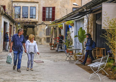 Impasse (G E Nilsen) Tags: palma de mallorca impasse spain store shop vindow flower street mediterranean table chairs europe bike workshop
