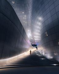 Stepping Through Time (Dan Portch) Tags: future futuristic seoul south korea street architecture fine art stairs steps dondaemun design plaza dongdaemun ddp zaha hadid