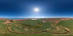 Lunan Water - Aerial Photosphere 21-04-2018b (G Davidson) Tags: aerial 360 angus panorama scotland 2018 lunan water redcastle fields countryside