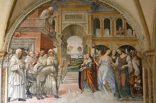 il Sodoma (Giovanni Antonio Bazzi) 1477-1549 - Florenzo manda delle prostitute al monastero - Storie di san Benedetto di Monte Oliveto Maggiore - 1505 circa