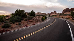 Arches sunset (Alex&HisNikon) Tags: road arches utah sunset leadinglines clouds nationalpark usa