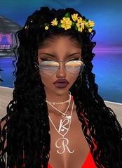 Flawless (My Lovely Kurenai) Tags: imvu summertime darkskin flowerheadband glasses profilepic avatar