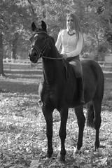 Bella (serkoh) Tags: girl portrait people fashion bw blackandwhite canoneos550d canonef85mmf18usm horse
