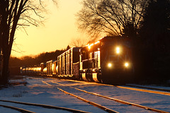 Redemption (view2share) Tags: cn5657 prlx210 sd75i sd75m emd electromotivedivision engine cn canadiannational cold 516 l516 cn516 cnl516 minneapolissub wi wisconsin winter evening eastbound newrichmond stcroixcounty sunset sundown sun spring springtime glint siding sidetrack rr railway railroad railroading railroads rail rails railroaders rring rrcar rural westernwisconsin midwest switch switching switches manifest mixedfreight freight freighttrain freightcar freightcars track trains transportation train tracks transport trackage trees trackmaintenance deansauvola april62018 april2018 april 2018