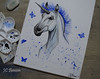 The Cold Unicorn (The Art Of Jessica Cora Benson) Tags: unicorn cold blue love butterflies pallet painting acrylic paintings
