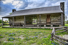 Sam Houston property (garofano_richard) Tags: oldbuildings bench table shutters chimney metalroof classicoldwoodenfences texasbluebonnet dogtrot