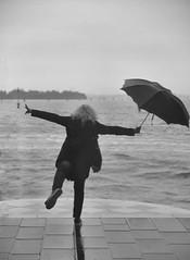 try to fly (poludziber1) Tags: street streetphotography skyline sky sea city cityscape venice venezia italia italy light umbrella people blackwhite urban travel rain