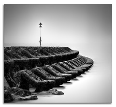 """Marker"" (Ray Mcbride Photography) Tags: breakers seadefences sea tides burbobank mono newbrighton"