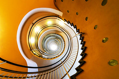 Yellow stairs (Maerten Prins) Tags: duitsland deutschland dortmund yellow color colour kleur stair stairs stairwell spiral trappenhuis wenteltrap geel rond round upshot curve explored gesundheitshaus