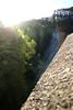 Tiny people down below (Paul Threlfall) Tags: dam maroondahreservoir damwall highpov contrejour sun melbournewater victoriaaustralia