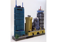 Skyline - Boston, Angle 2 (BrickBlvd) Tags: lego micro skyline architecture boston prudential hancock tower huntington christian science longfellow bridge