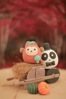 handmade Panda and Monkey MochiEgg wedding cake topper, cute animals wedding cake decoration ideas