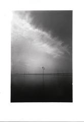 fairway markings (timtolhuysen) Tags: olympus om2n tokina28mmf28 20sec kodaktmax400 blackandwhite longexposure wremen coastline seascape landscape darkroomprint